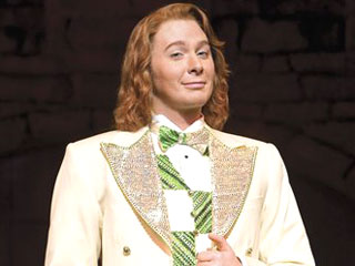 "Clay Aiken appears on stage in his role as Sir Robin in Monty Python's ""Spamalot"""